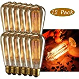INNOCCY Edison Light Bulb , 60W E26 E27 Vintage Bulb Dimmable ST64 Antique Squirrel Cage Light , 2300K , 240 Lumens , Pack Of 12