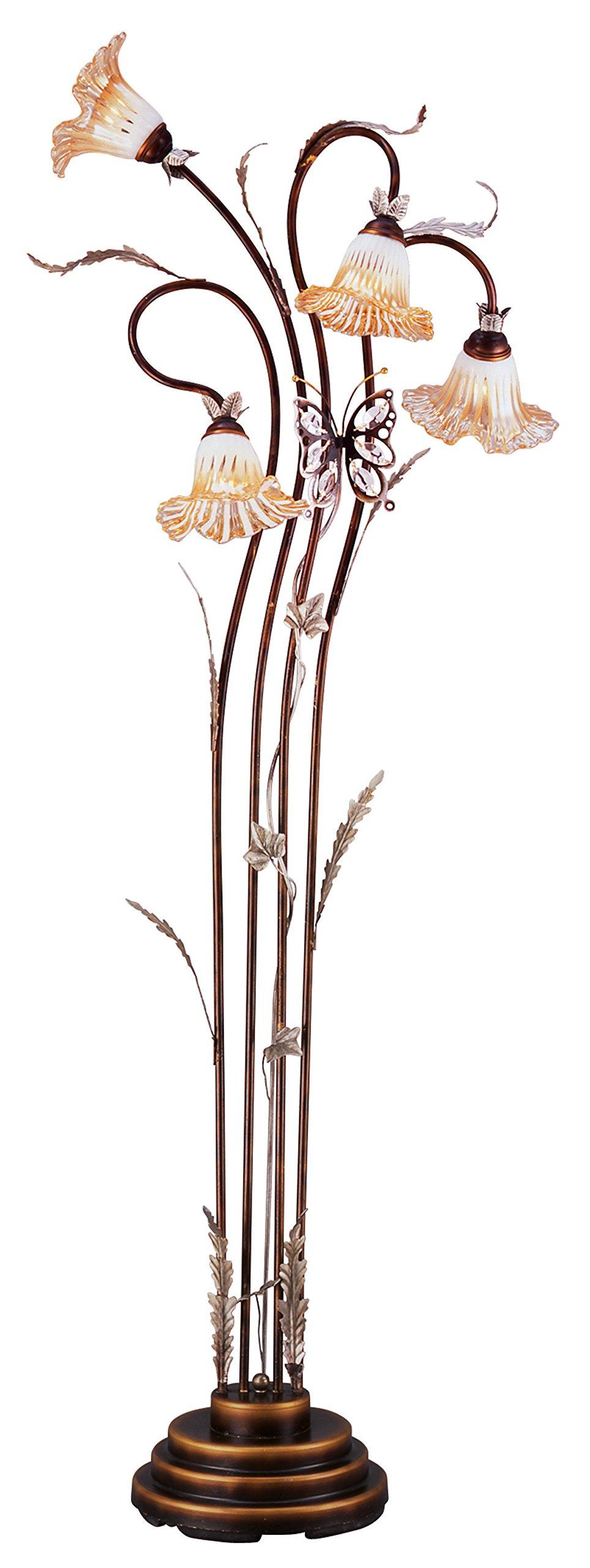 OK Lighting OK-9138 Modern Flower Glass Shade Metal Floor Lamp, 70'', Bronze Finish