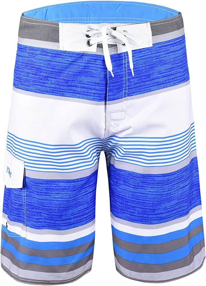 8b655ca8d45 Nonwe Men's Stripe Straight Lightweight Beach Shorts Half Pants with Lining  Blue Striped with White 28