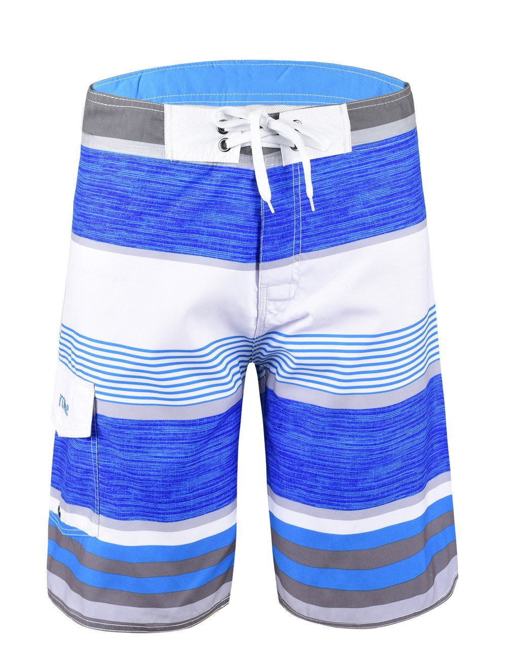 Nonwe Men's Stripe Straight Lightweight Beach Shorts Half Pants with Lining Blue Striped with White 32