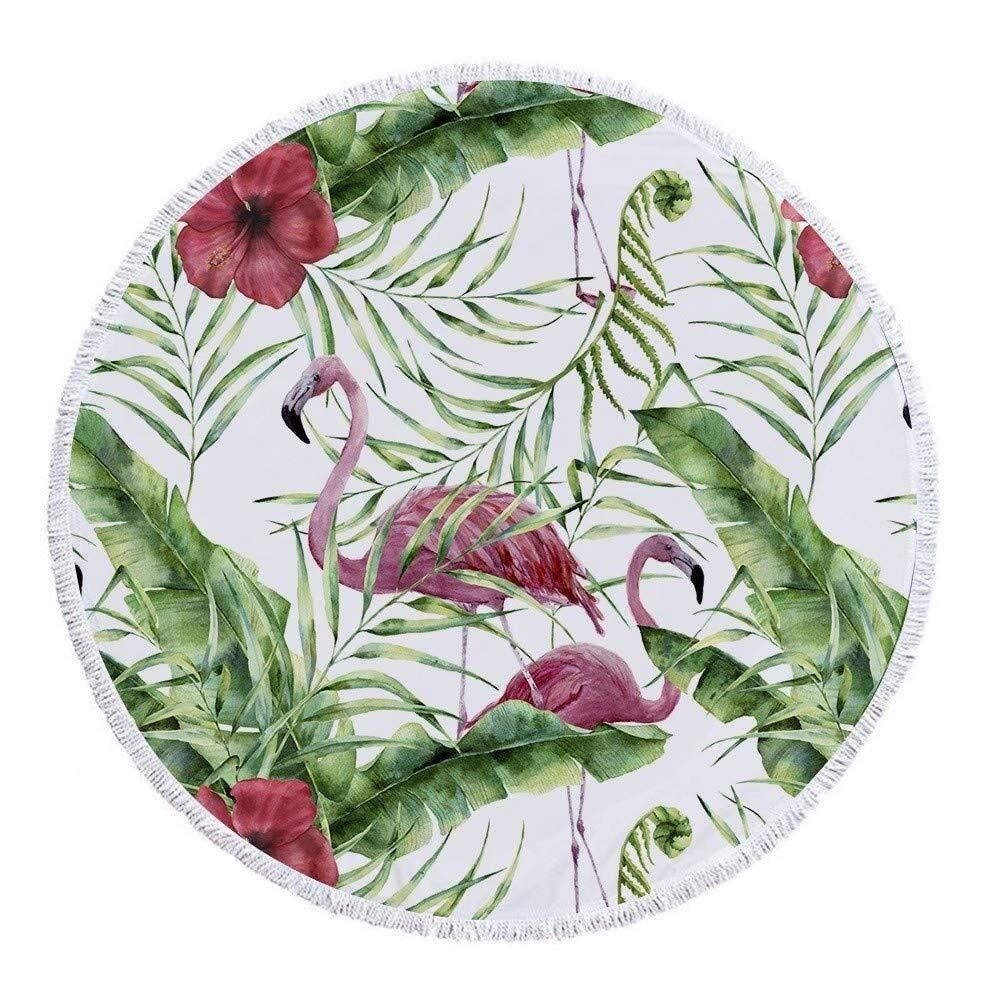 ETH Round Beach Towels Tapestry Hippie, 59 InchThrow Blanket Travel Table Cloth Tassel Flamingo Swim Pool Shawl Camping 150cm Durable by ETH