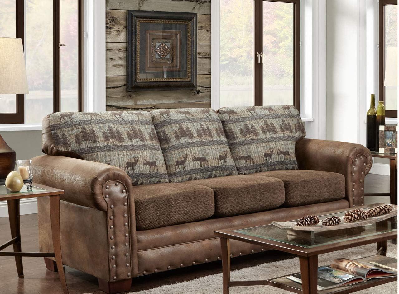 American Furniture Classics Sofa in Deer Teal Lodge Tapestry, Deer Teal Tapestry