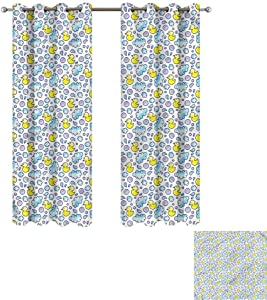 """Cash Hoover Grommet Curtains Baby,Washing Time Bubbles Duck,Wide Blackout Curtains, Keep Warm Draperies,1 Pair 50"""" Wx96 L,2 Panels"""