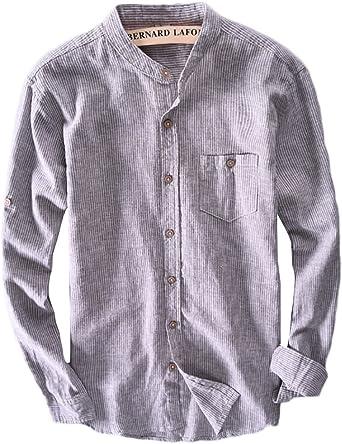 ICEGREY - Camisa casual - con botones - Rayas - cuello mao - Manga Larga - para hombre: Amazon.es: Ropa y accesorios