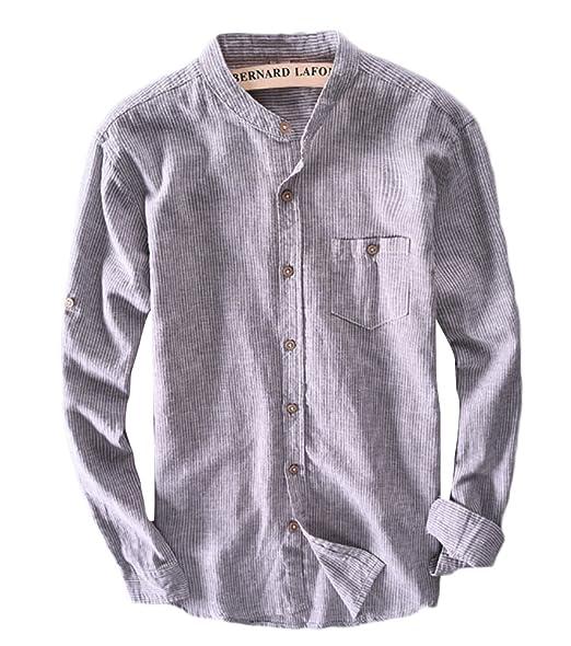 Icegrey Herren Leinen Hemden Beil ufig Langarm Stehkragen Gestreift Leinen  Shirts Strand Hemden  Amazon.de  Bekleidung 13ffb1c062
