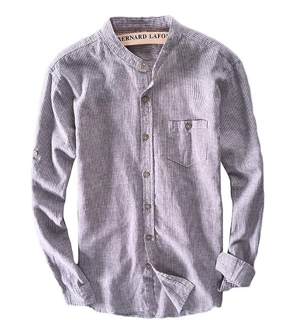Icegrey Camisa Casual - con Botones - Rayas - Cuello Mao - Manga Larga - para  Hombre  Amazon.es  Ropa y accesorios 6f9083b4070