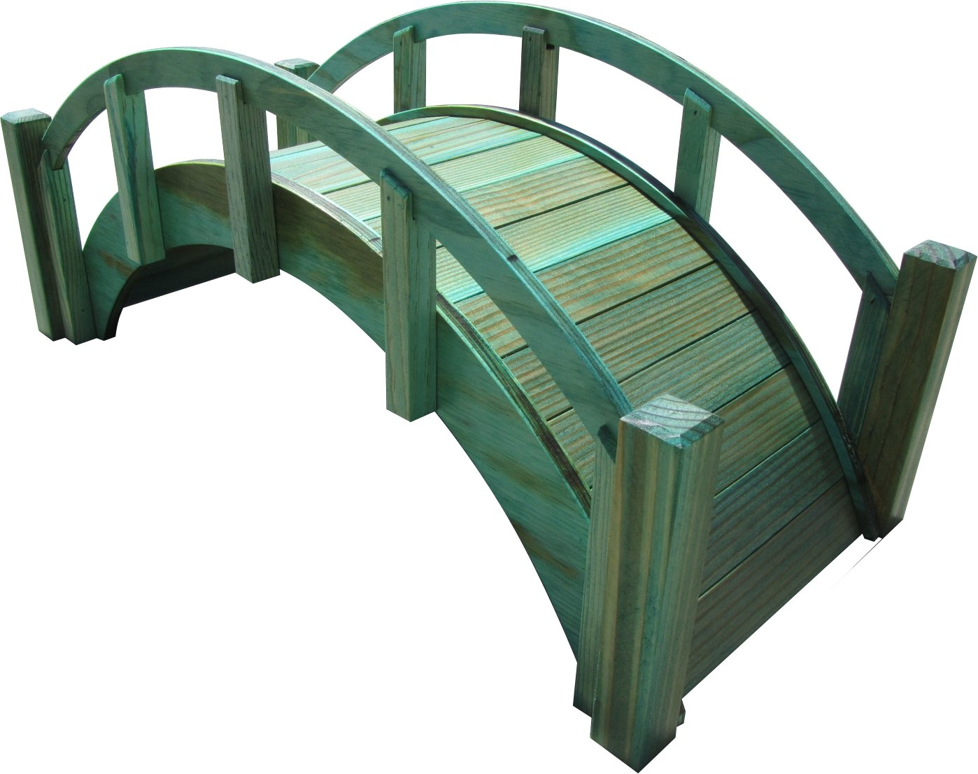 SamsGazebos Miniature Japanese Treated Wood Garden Bridge, 25-Inch, Green