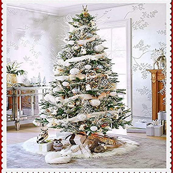 Bulary Albero di Natale gonna bianca peluche bianco albero di Natale gonna base decorazione di Natale Decorazioni 78/cm