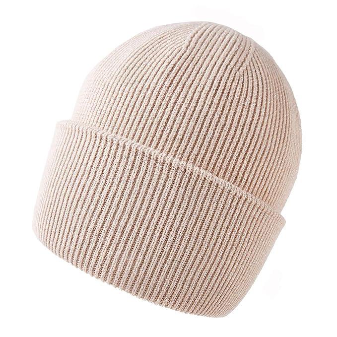ef07db6f3cc RIONA Women s Australian Merino Wool Knit Cuffed Solid Beanie Hat Warm  Winter Skull Caps Headwear (
