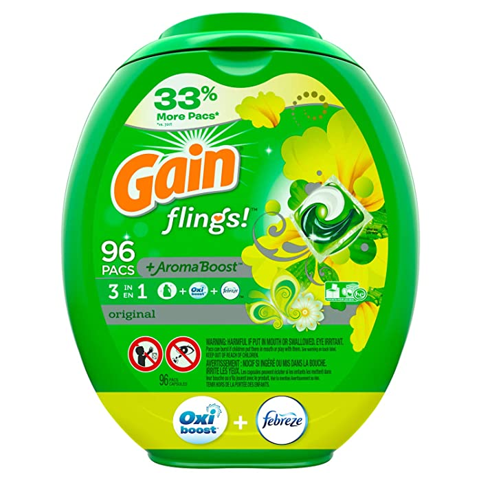 Gain Flings! Laundry Detergent Pacs Original, 96 Count