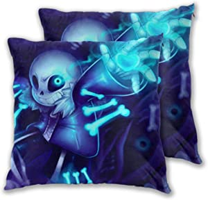 D-WOLVES Under-Tale 3D Print Anime Throw Pillow Covers,Soft Square Pillowcases Fashion Cushion Cases Home Decor for Sofa Patio Outdoor Cafe Office,18''x18'' Set of 2