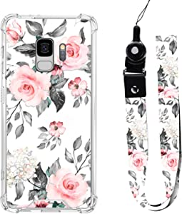 Samsung Galaxy S9 Case Rose Floral Design with Neck Strap Lanyard for Women Girls Protective Shockproof Clear Transparent Grey Pink Flower Cell Phone Bumper Cover Case Pattern for Galaxy S9 5.8