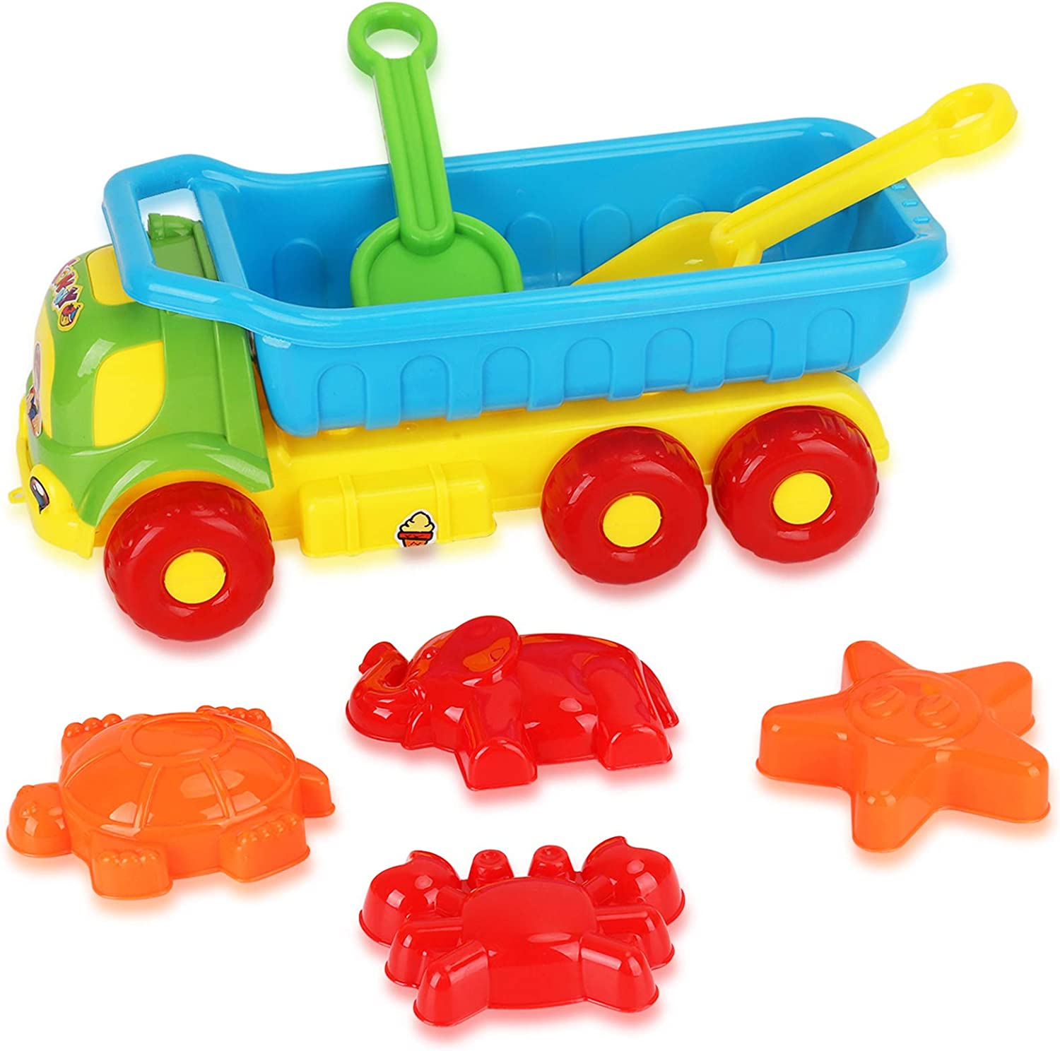 BPA Free Plastic Boost Children/'s Creativity Safe Summer Gift for Boys /& Girls 6 Pieces Set Beach Toys for Kids 3-10 Sand Castle Building Kit Dump Truck Toy for Toddlers Role Play
