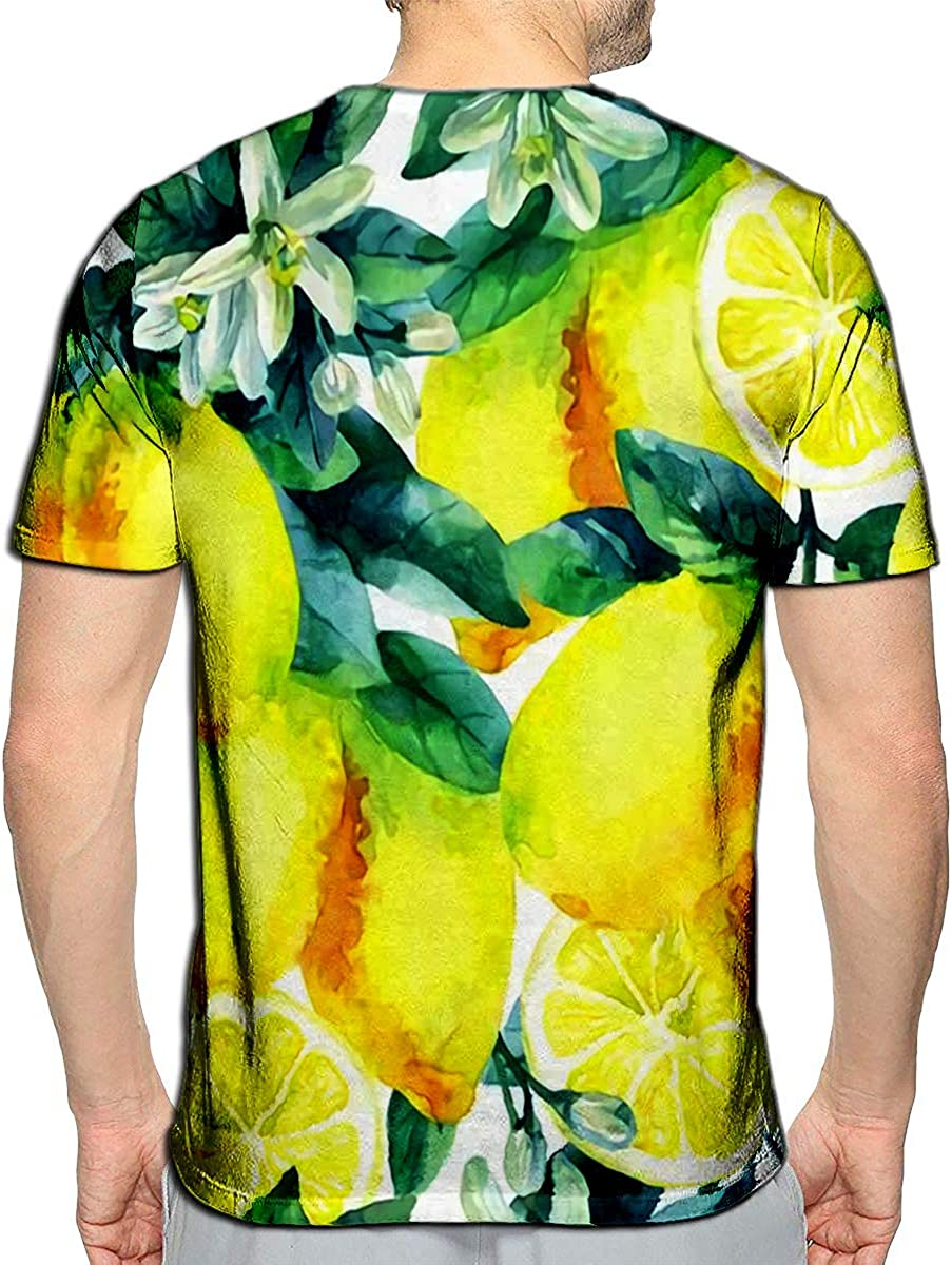 YILINGER 3D Printed T Shirts Watercolor Lemon Fruit Branch with Leaves Citrus Tree Lem Casual Mens Hipster Top Tees