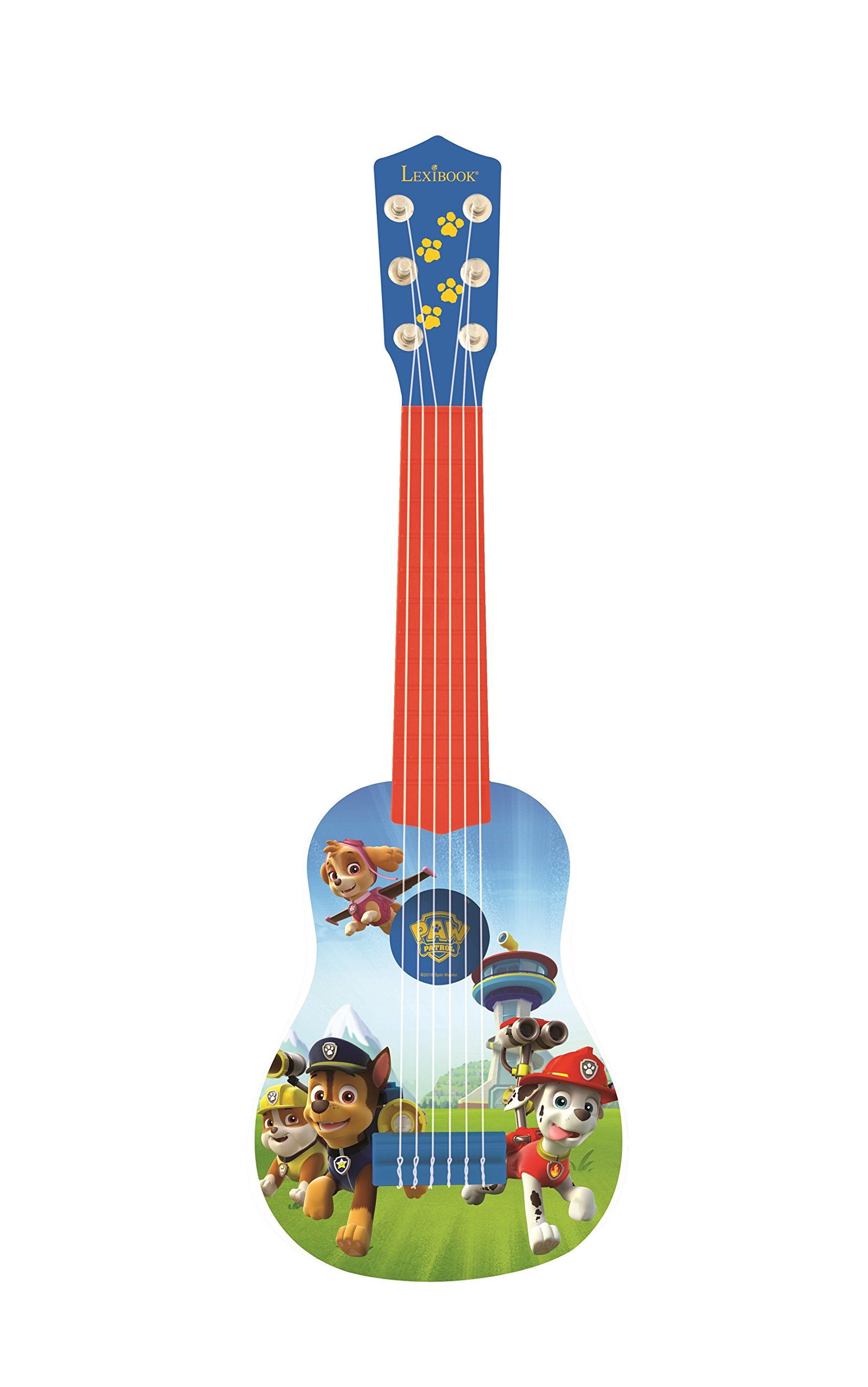LEXiBOOK Paw Patrol Chase My First Guitar, 6 Nylon Strings, 53 cm, Guide Included, Blue / Red, K200PA
