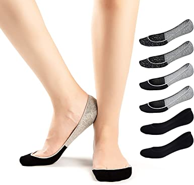 Women Girls Cotton No Show Breathable Invisible Liner Socks Non-Slip 9 pairs