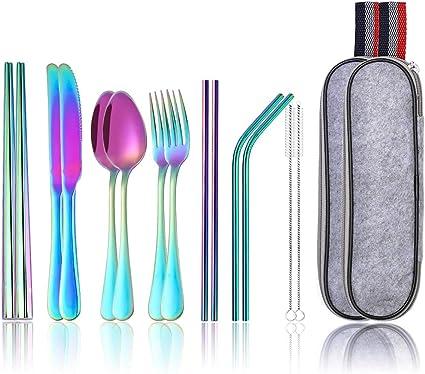 Lawei - Juego de cubiertos de acero inoxidable, 16 piezas, diseño de arco iris, para viajes, camping, picnic, trabajo y senderismo