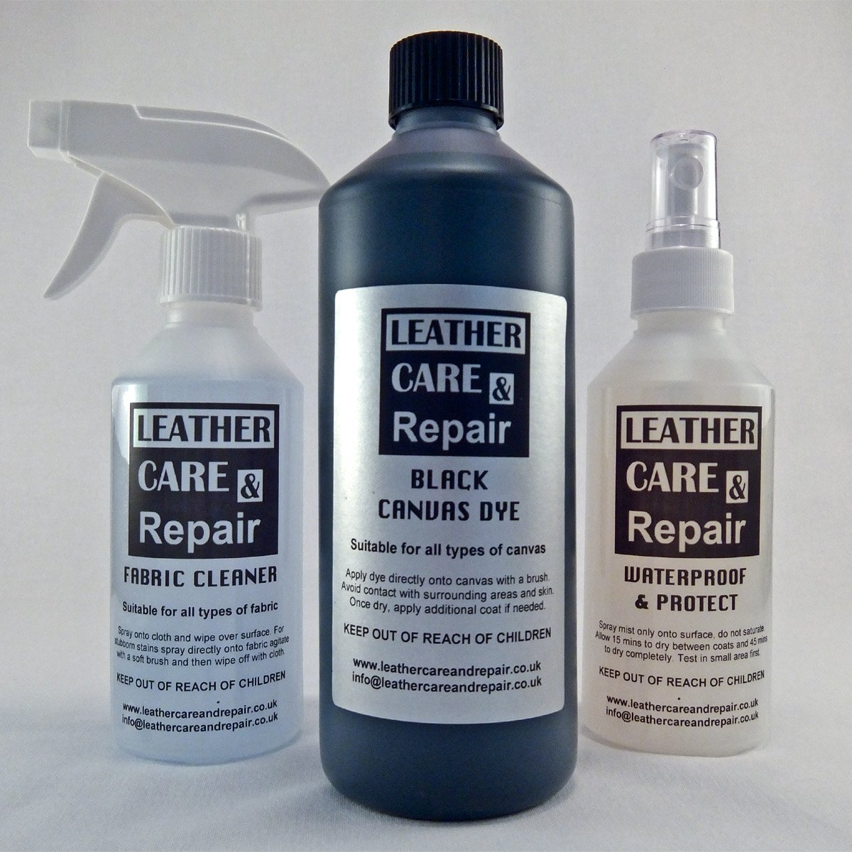 CANVAS HOOD CLEANER, 500ml RESTORER & WATERPROOFER KIT Leather Care & Repair