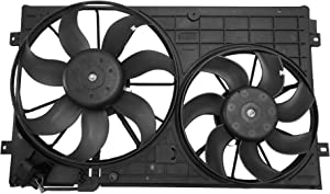 BOXI Engine Radiator Dual Cooling Fan Assembly For 12-13 Volkswagen Beetle / 10-13 VW Golf / 05-13 VW Jetta / 12-13 VW Passat / 06-09 VW Rabbit / 1K0959455ET 1K0959455EA