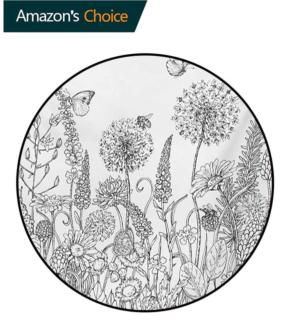 RUGSMAT Floral Round Kids Rugs,Sketchy Hand Drawn Style Garden with Various Flowers Leaves and Grass Image Non Skid Nursery Kids Area Rug for Bedroom Machine Washable,Diameter-55 Inch by RUGSMAT (Image #1)