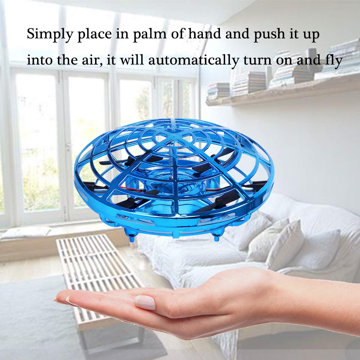 Hand Operated Drones for Kids or Adults, Light Up Joy Flying Ball Drone, Helicopter Mini Drone, Easy Indoor Small Flying Toys for Boys or Girls (Blue) by 98K (Image #3)