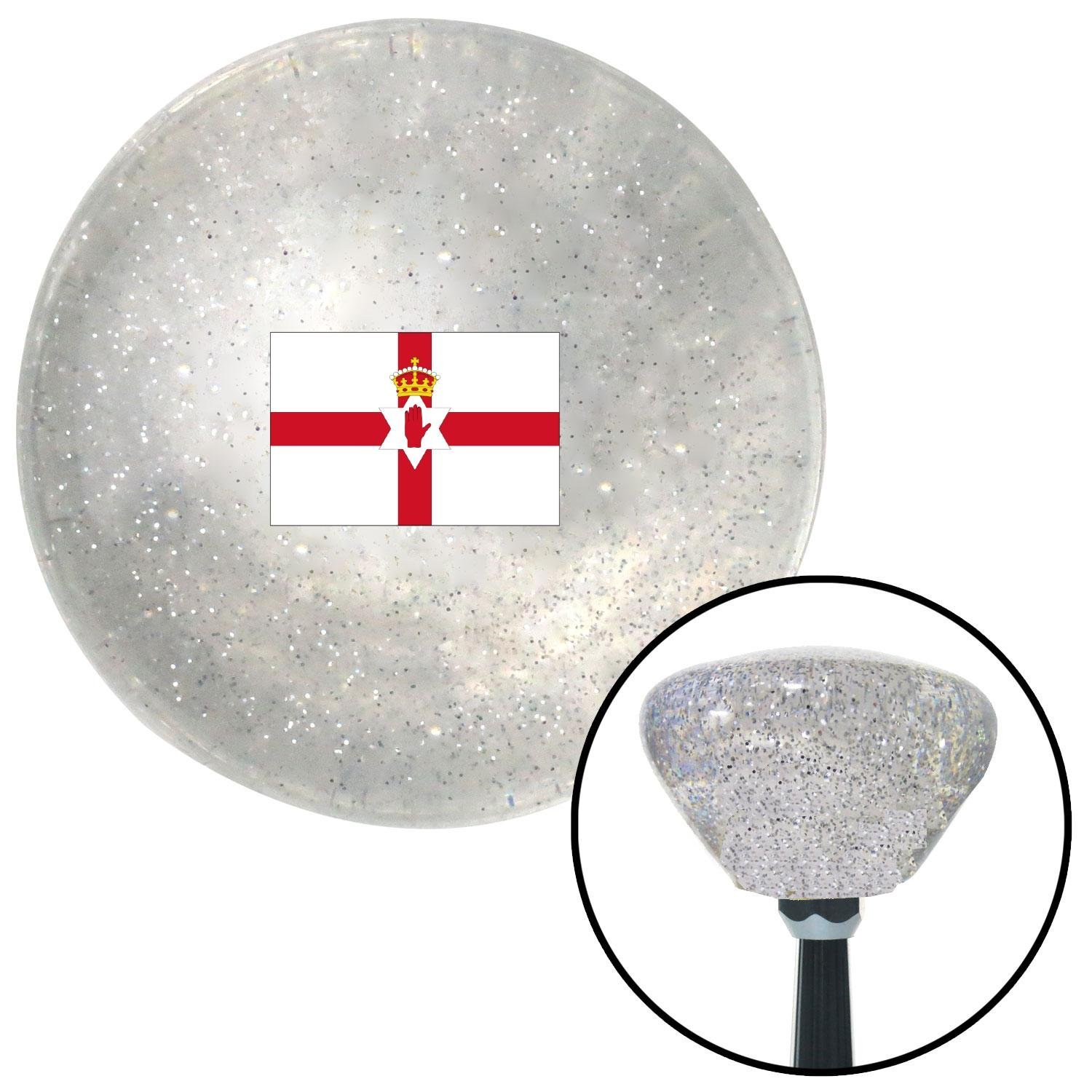 American Shifter 307197 Shift Knob Northern Ireland Clear Retro Metal Flake with M16 x 1.5 Insert