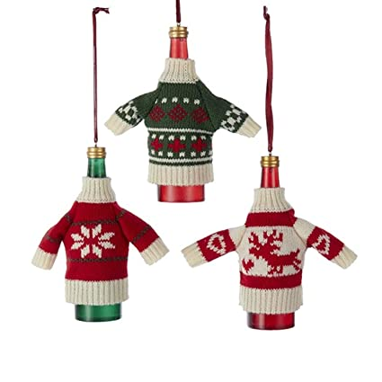 pack of 12 red white and green knit sweater wine bottle christmas ornaments 45
