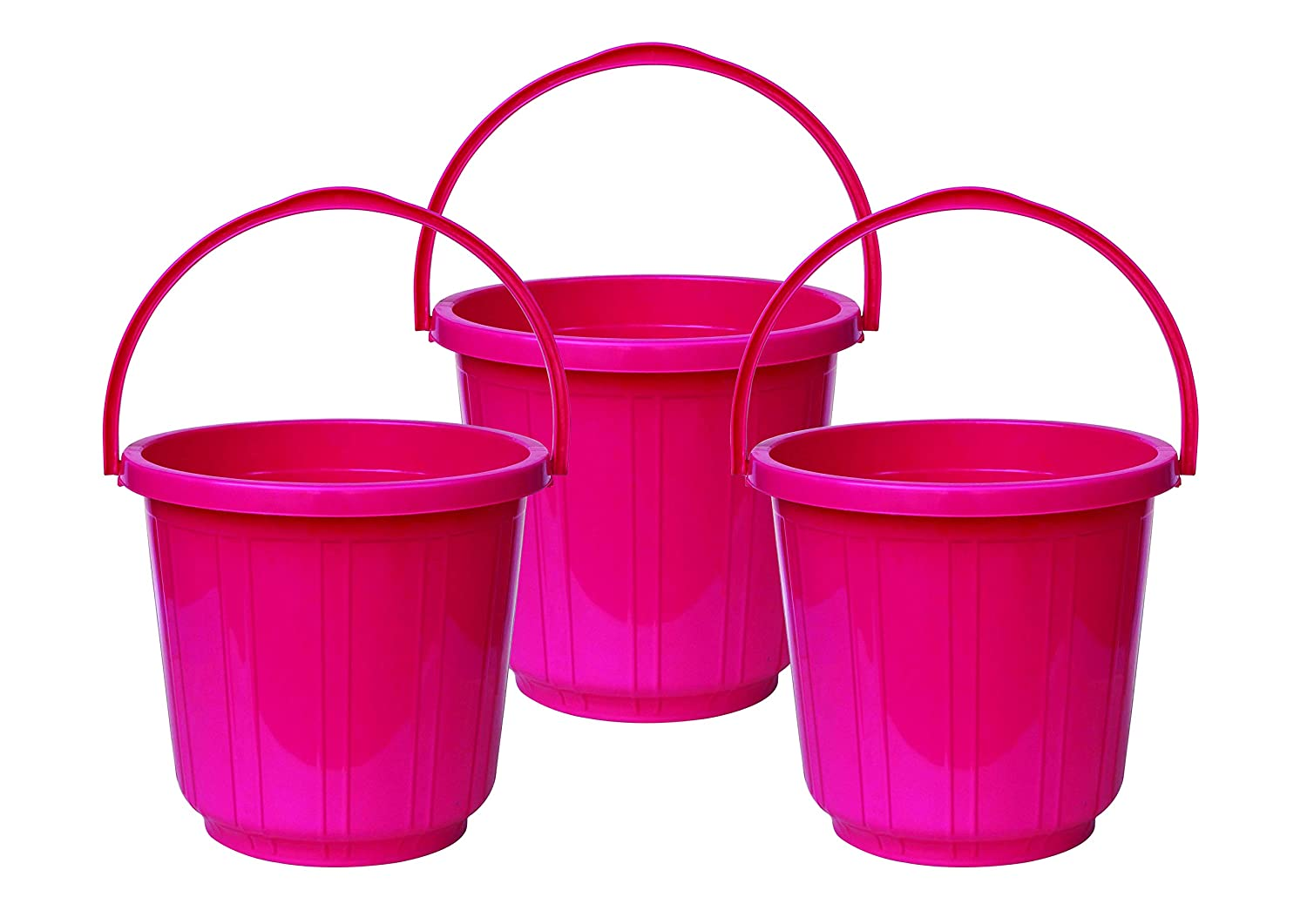 Princeware Super Delux Bucket Having Capacity of 11 Ltrs Each in Set of Three Available in Pink Colour