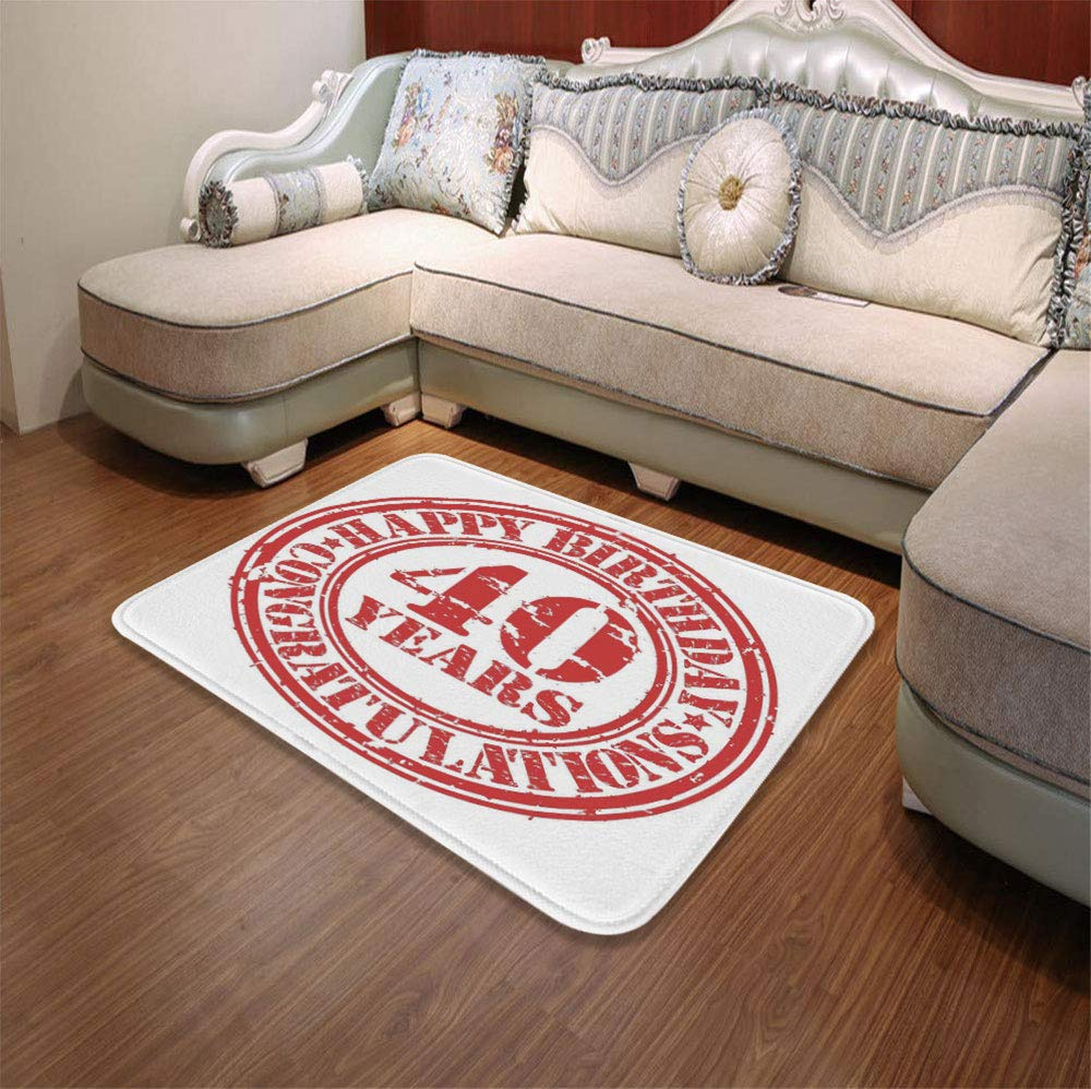 YOLIYANA Modern Carpet,40th Birthday Decorations,for Living Room Bathroom,55.12'' x78.74'',Dated Rubber Stamp with Number Forty by YOLIYANA (Image #1)