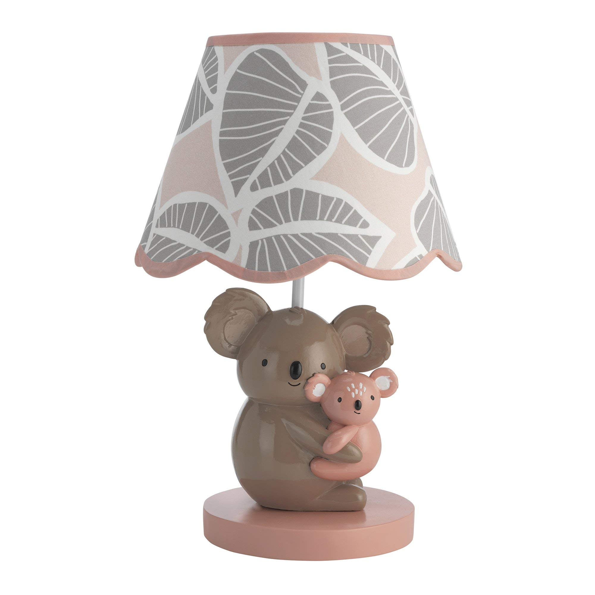 Lambs & Ivy Calypso Lamp with Shade & Bulb - Pink, Gray, Brown, Animals, Jungle, Outdoors, Koala