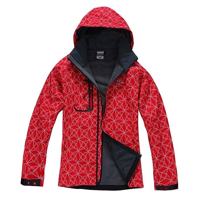 XMS Mujer Resistente al agua resistente al viento chaqueta Forro Polar Softshell Outdoor Sport camping senderismo Walking Escalada Chaqueta Abrigo rojo: ...