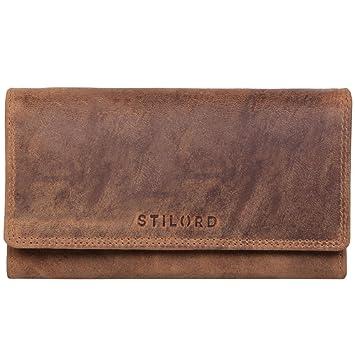 707d86277a6f2d STILORD 'Hannah' Vintage Geldbörse für Damen aus Antik Leder groß  Portemonnaie Reißverschluss Kleingeld EC