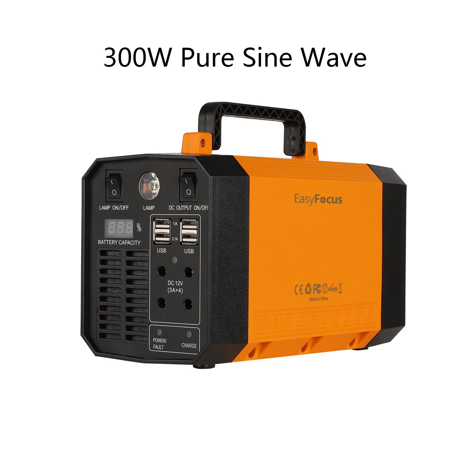 EasyFocus Portable Power Station 200Wh Solar Generator 300W Pure Sine Wave Inverter Emergency Power Supply Charged by Solar/AC Outlet/Cars