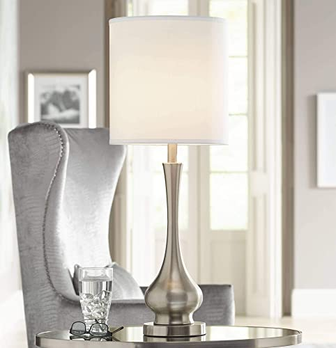 Modern Buffet Table Lamp Brushed Steel Tall Gourd White Drum Shade for Dining Room Bedroom Bedside – Possini Euro Design