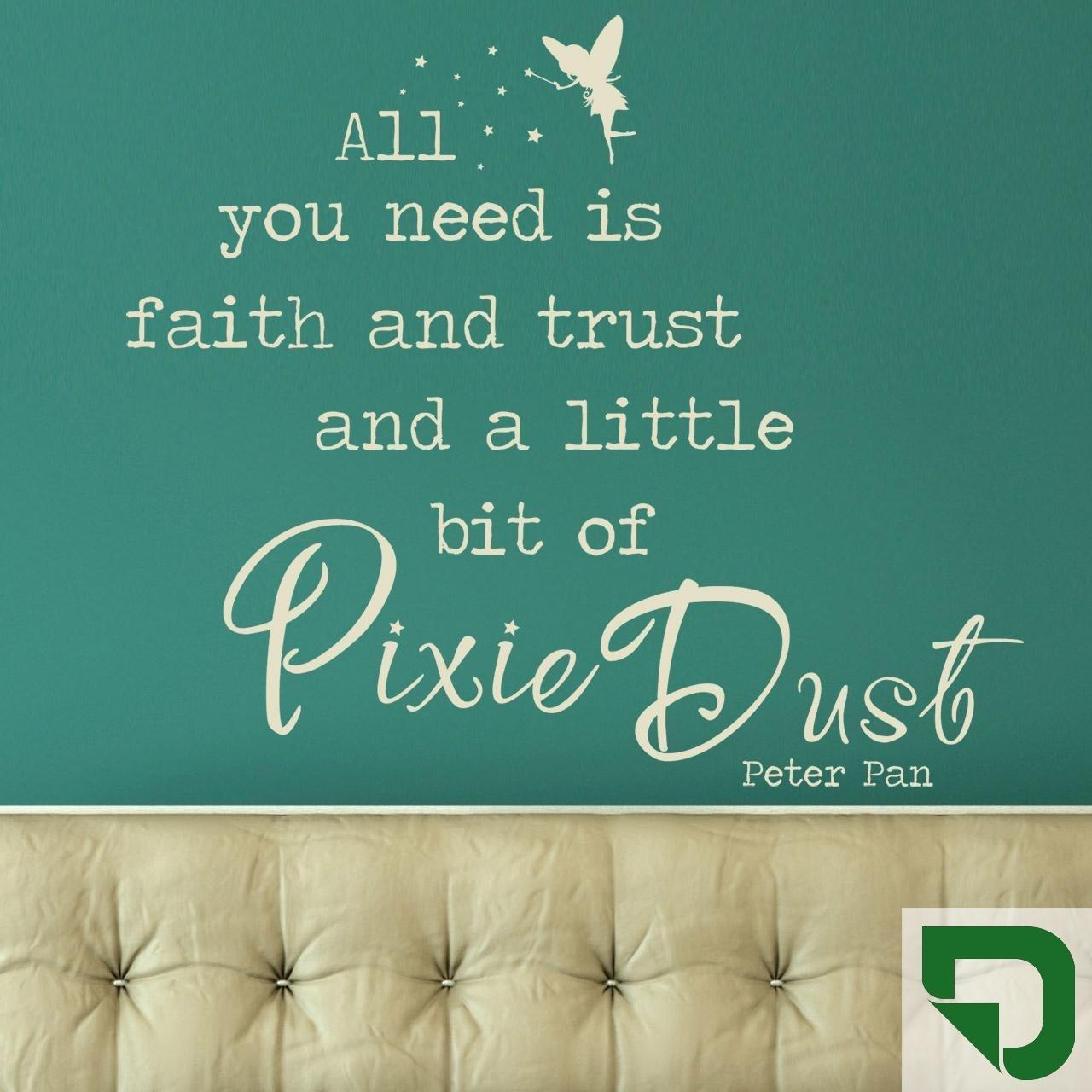 DESIGNSCAPE® Wandtattoo All you need is faith and trust an a little bit of Pixie Dust - Peter Pan Zitat 90 x 77 cm (Breite x Höhe) braun DW802125-M-F9 B01FSB5JLK Wandtattoos & Wandbilder