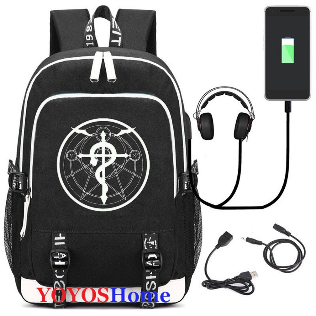 YOYOSHome Luminous Japanese Anime Cosplay Daypack Bookbag Laptop Bag Backpack School Bag with USB Charging Port (Fullmetal Alchemist 1) by YOYOSHome (Image #1)
