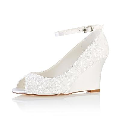 Emily Bridal Lace Wedding Shoes Ivory Peep Toe Wedge Shoes Ankle Strap Bridal  Shoes (EU36