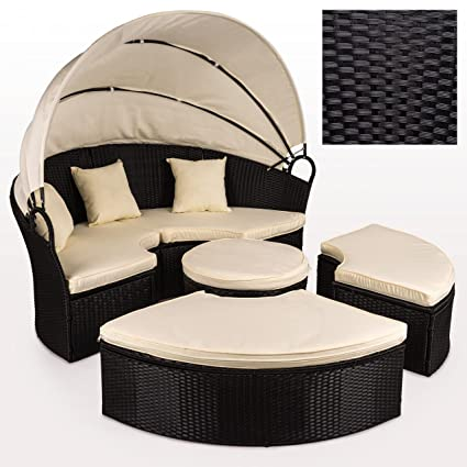 Polyrattan Sonneninsel Liege Lounge Gartenmobel O 184 Cm Mit