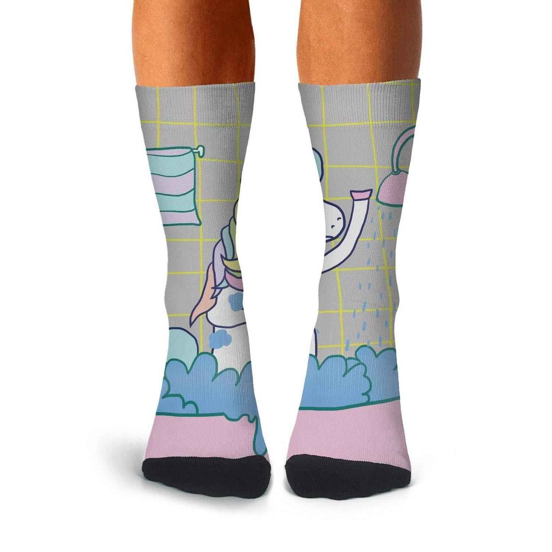 Knee High Long Stockings KCOSSH Shower Unicorn Unique Calf Socks Moisture Crew Sock For Men