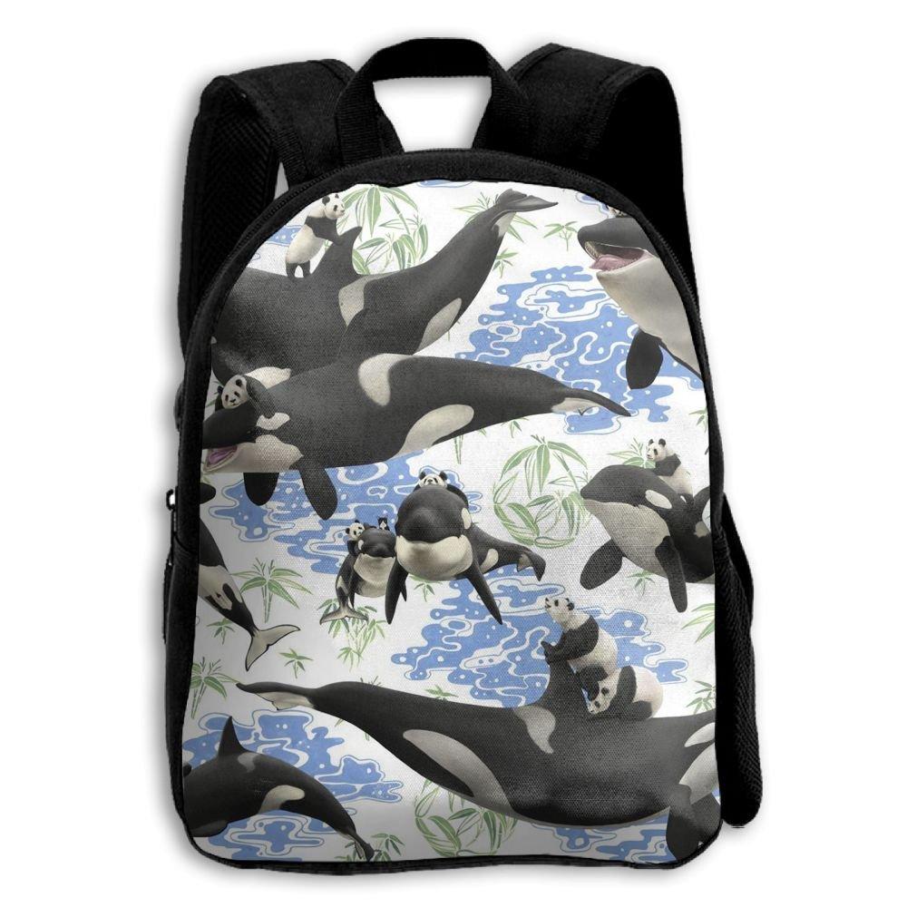 sdeyr79スタイリッシュな子パンダRiding Orca Whale学校バックパックBookbags Middle Bags Daypack For Boys Girls   B07FZT1T9T