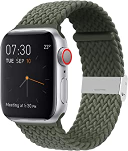 SIXRARI Braided Solo Band Compatible with Apple Watch 42mm 44mm, Soft Stretch Loop with Adjustable Buckle Sport Elastics Strap Compatible with iWatch Series SE 6/5/4/3/2/1