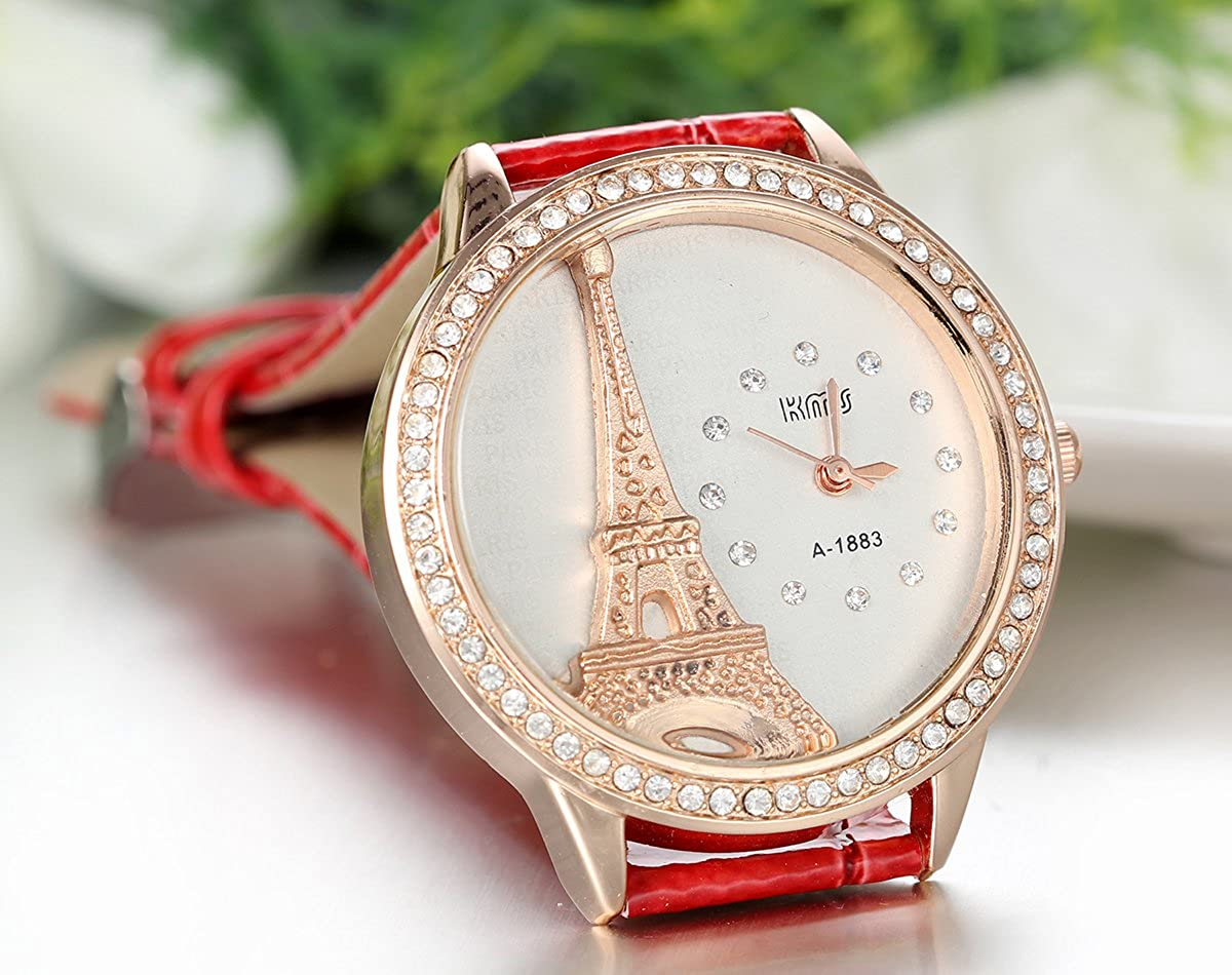 Amazon.com: JewelryWe Lot of 2 Paris Tower Leather Women Watches, Pink and Red Leather Bands: Watches