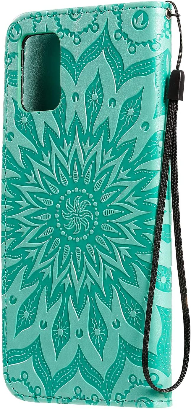 Gostyle Leather Wallet Case Compatible with Samsung Galaxy A71,Flip Magnetic Closure Grey Case Embossed Sunflower Pattern,Book Style with Card Slots Hand Strap Stand Cover