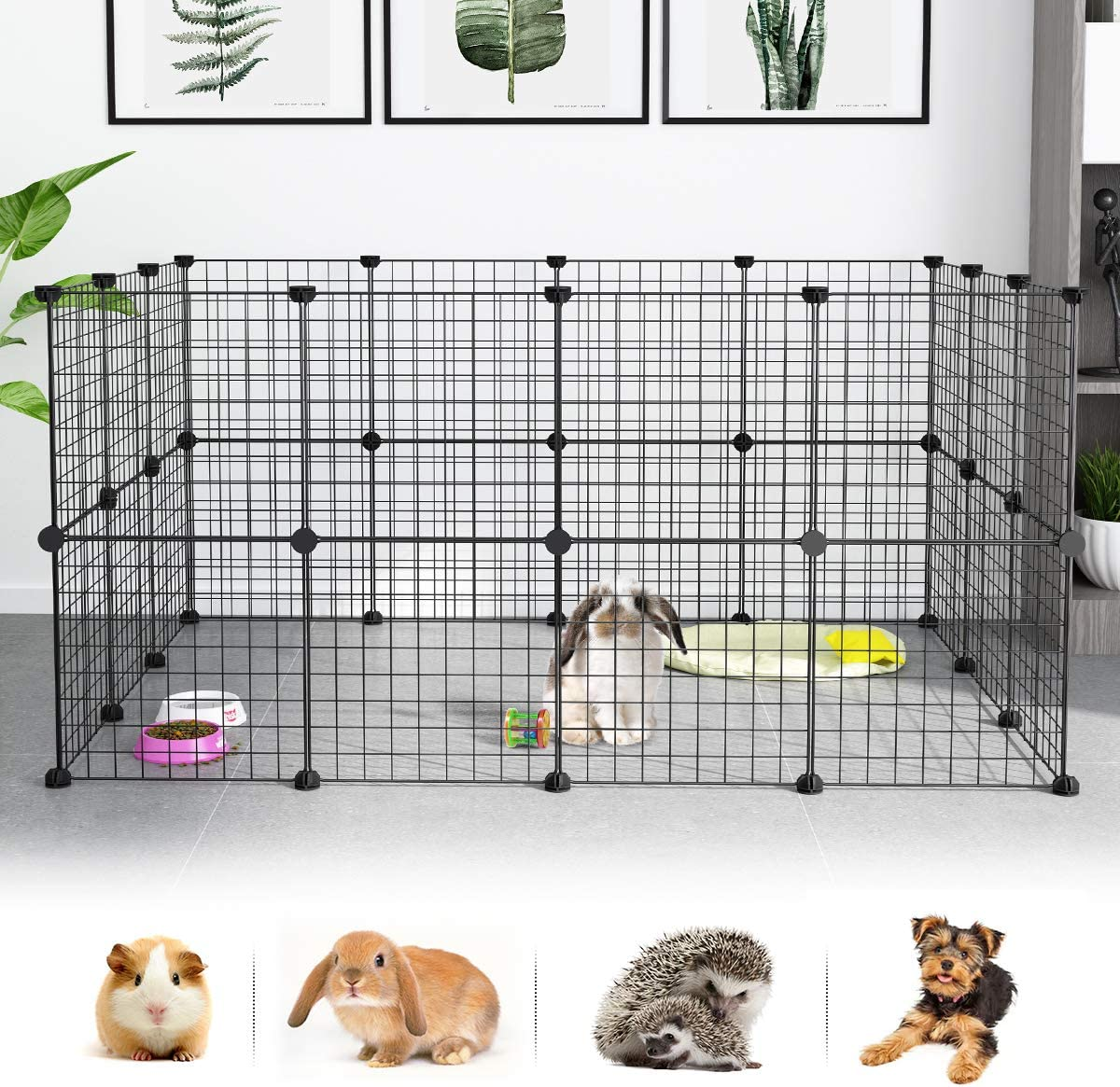 LANGRIA Pet Playpen, DIY Small Animal Cage for Guinea Pigs, Puppy Pet Products Portable Metal Wire Yard Fence Black