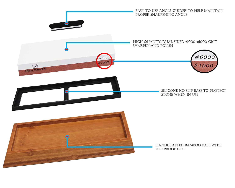 Amazon.com: Mizu 1000/6000 Grit Premium Whetstone Afilador ...