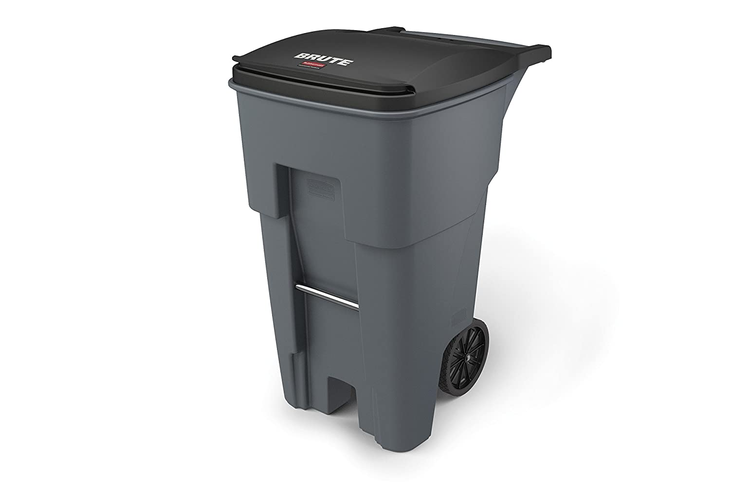 Rubbermaid Commercial 9W21GY Brute Rollout Heavy-Duty Waste Container, Square, Polyethylene, 65gal, Gray FG9W2100GRAY