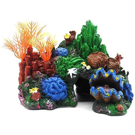 EMVANV Adorno para Acuario con Forma de Cueva de Arrecife de Coral Artificial, Decoración bajo