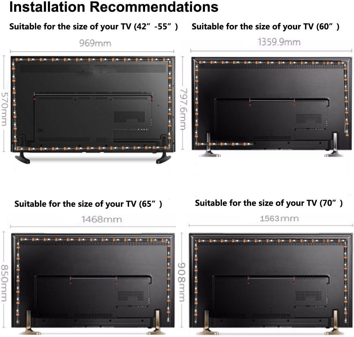 LEBRIGHT Led TV Tira 300cm Bias Iluminación Behind 60 65 70 pulgadas HDTV USB LED Tira de luz TV Montaje en pared Cine Decoración de cine Luces de estado de ánimo, RF
