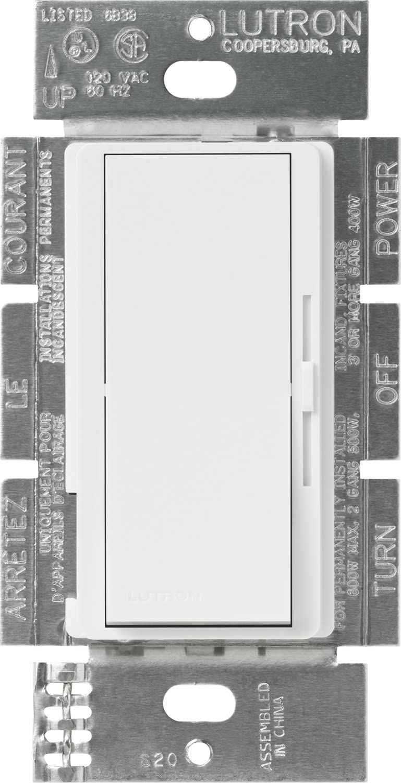 Lutron DVFSQ-F-WH Diva 1.5 A 3-Way Single Pole 3-Speed Fan Control, White - Ceiling Fan Wall Controls -