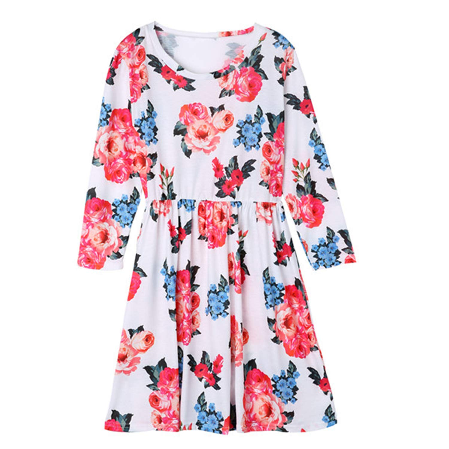 2019 Hot Summer Mother Daughter Dresses Fashion White Floral Print Three Quarter Spring Mini Dress Family Look Dress Mommy and me Clothes